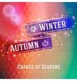 Bright ribbon with winter and autumn arrow icons vector image