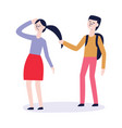bullying of teen girl with hair pulled vector image vector image