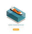 cargo ship isometric background vector image vector image