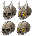 cartoon realistic scary human skull with horns vector image vector image