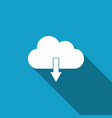 cloud download icon isolated with long shadow vector image