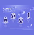 connected databases with cloud storages vector image vector image