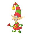 cute cartoon little boy santa helper elf stand vector image