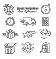 delivery line style icon set vector image