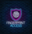 fingerprint access glowing neon sign cyber vector image vector image