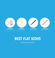 flat icon equipment set of fastener page nib pen vector image vector image