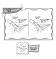 game black find 9 differences paper airplane vector image vector image