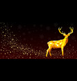 greeting card with a deer of gold color vector image