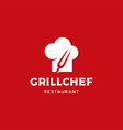 grill chef hat restaurant logo icon grill chef vector image vector image