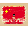 grunge abstract landscape with Asian girl and flag vector image