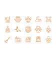 happy halloween celebration icons set color line vector image