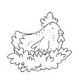 hen in nest farm animal isolated icon on white vector image
