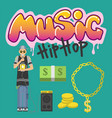 hip hop character musician with microphone vector image vector image