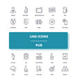line icons set pub vector image vector image
