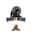 logo bear with birds in vintage style vector image vector image