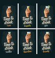 male hand holding glasses beer tequila vodka vector image