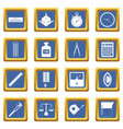 measure precision icons set blue vector image vector image