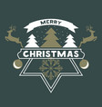merry christmas greeting card with snow christmas vector image vector image