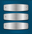 metal brushed plates with screws on blue vector image vector image