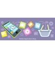 Mobile Application Shop Flat Design vector image