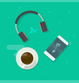 mobile phone playing music via wireless headset vector image vector image