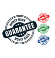 money back guarantee rubber label stamp seal set vector image