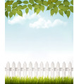 Nature background with green leaves and white vector image vector image