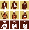 nine chef and waiter icons vector image vector image