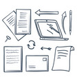 office paper and laptop screen arrows set vector image vector image