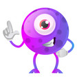 one thumbs up purple monster on white background vector image