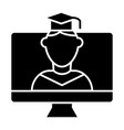 online educationa solid icon student on monitor vector image vector image