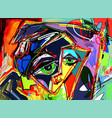 original abstract digital painting of human face vector image vector image