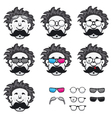 Professor with a lot of glasses vector image vector image