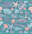 retro underwater seamless pattern vector image