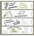 Set hand drawn tickets on Rollerdrom with Roller