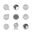 set icons globe or planet earth vector image vector image