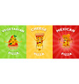 set of flyers or brochure with different pizza vector image vector image