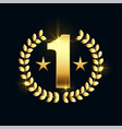 shiny golden number one star label design vector image
