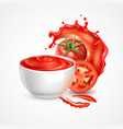 tomato sauce realistic composition vector image