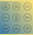 transport icons line style set with city car ship vector image