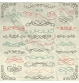 Vintage Hand Drawn Swirls Collection on Crumpled vector image vector image
