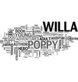 willa s poppy book review text word cloud concept vector image vector image