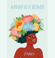 with woman in flower wreath vector image