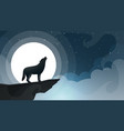 wnight cartoon landscape wolf moon cloud vector image vector image