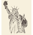 Statue of Liberty Hand Drawn Engraved Sketch vector image