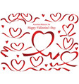 assorted heart-shaped red ribbons vector image vector image