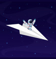 astronaut on paper airplane cosmonaut space vector image