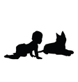 baby with cat silhouette vector image vector image