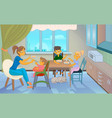 Babysitter feeding kid in kitchen vector image