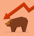 Bear with graph down trend vector image vector image